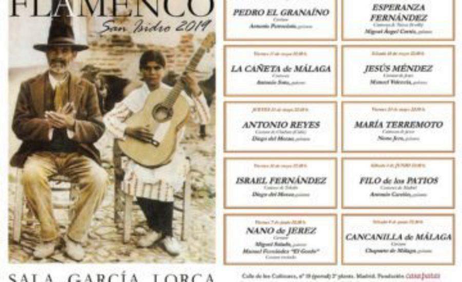 """Espléndido cartel """"Flamenco en San Isidro 2019"""" en la García Lorca de Casa Patas"""